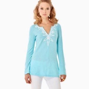 Lilly Pulitzer Westley v-neck spa blue tunic S